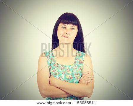 Skeptical Woman Thinking Planning Looking Isolated