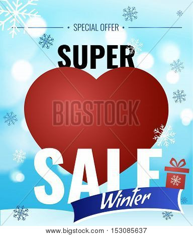 Sale banner with heart on blue background with snowflakes. Lettering winter sale. Sale vector template. Super Sale new year poster.