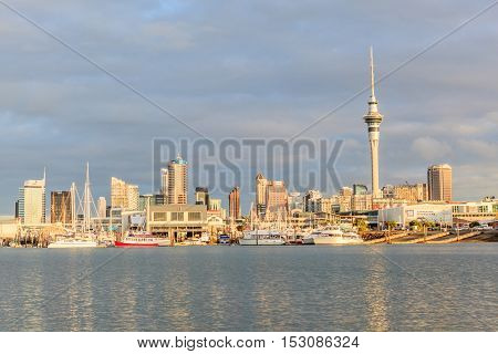 Auckland New Zealand- December 9 2013. Auckland city and sky tower view from the Westhaven Marina.