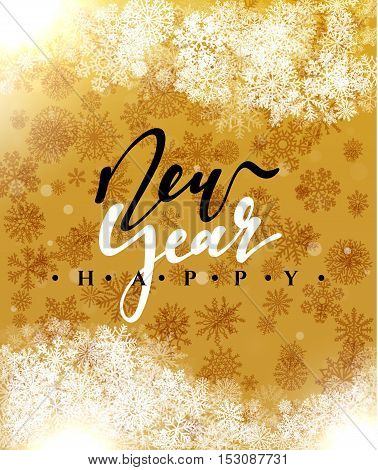 Happy New Year and Merry Christmas concept greeting card design. Postcard background for print or banner to your website. Handmade calligraphy Merry Christmas. Holiday background vector image greeting