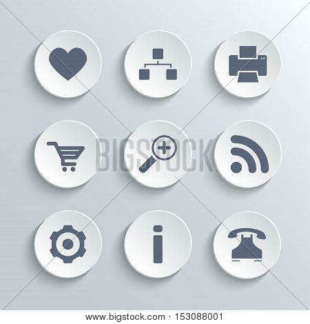 Web icons set - vector white round buttons with heart follow printer sitemap shopping cart zoom rss settings gear information telephone