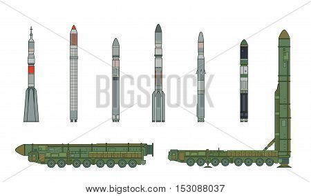 Intercontinental ballistic missile Topol-M and rockets. Vector illustration isolated on white.