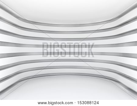 White architecture circular background. Abstract interior with empty space. 3D rednering