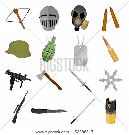 Weapon set icons in cartoon style. Big collection weapon vector symbol stock