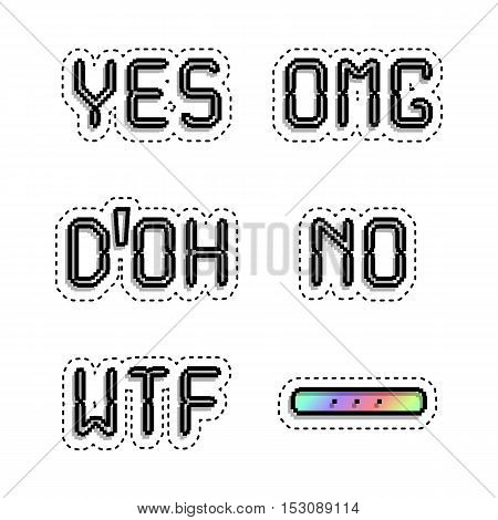 Popular phrases: Omg Yes No Wtf Doh. Sticker style pixel art.