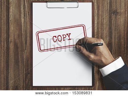 Copy Duplicate Print Scan Transcript Counterfoil Concept