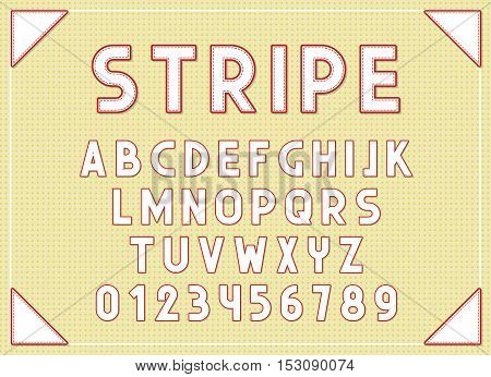 Stripe fonts abc letters print typography vector Illustration. Retro type font, vintage alphabet. Font english lowercase letters