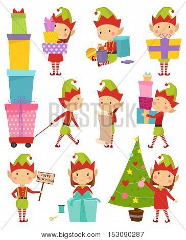 Santa Claus kids cartoon elf helpers vector illustration. Santa Claus elf helpers children. Santa helpers traditional costume. Santa family elfs isolated. Santa Claus elf kids