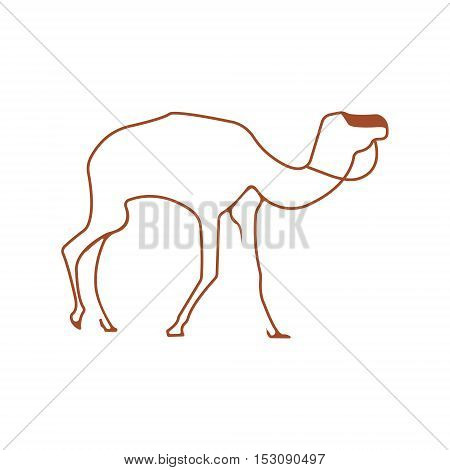 Camel logo. Silhouette vector symbol of camel for design company's logo, tattoo, visit card, etc. Monochrome sign of animal.