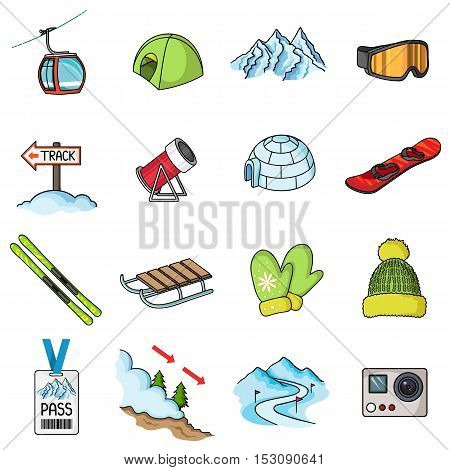 Ski resort set icons in cartoon style. Big collection ski resort vector symbol stock