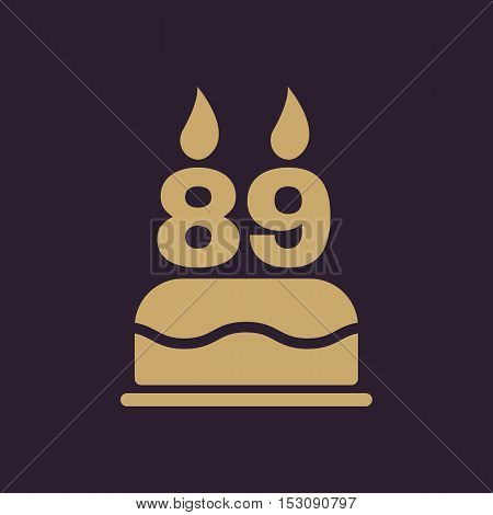 The birthday cake with candles in the form of number 89 icon. Birthday symbol. Flat Vector illustration