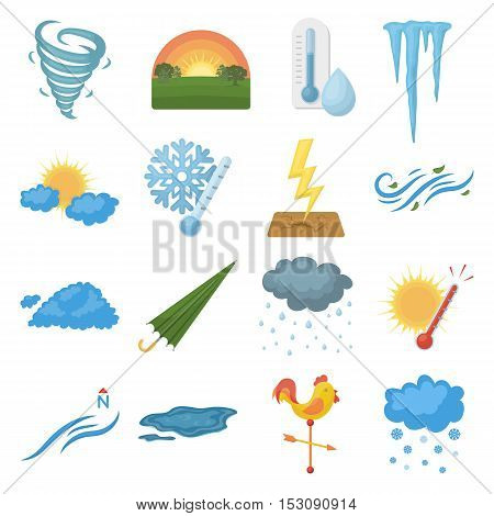 Weather set icons in cartoon style. Big collection weather vector symbol stock