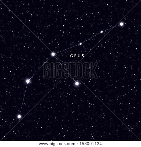 Sky Map with the name of the stars and constellations. Astronomical symbol constellation Grus