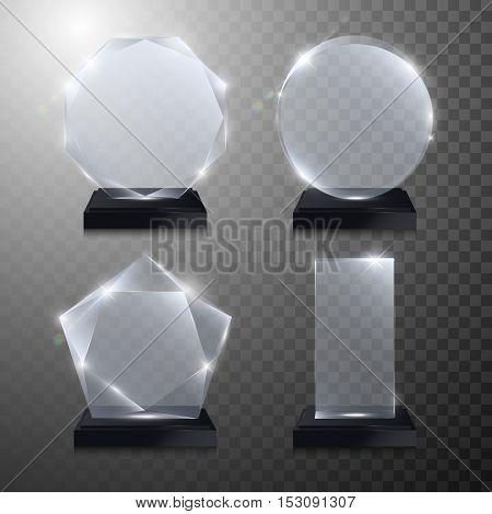 Glass trophy award. Vector award on transparent background