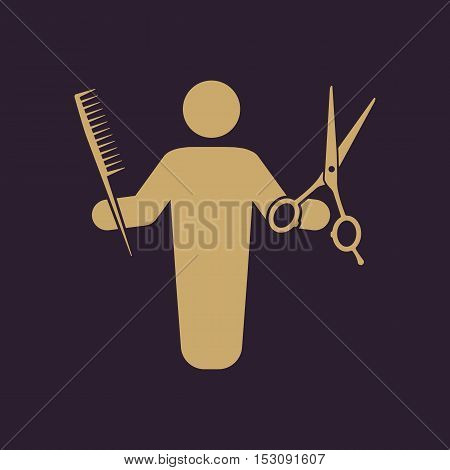 The barber avatar icon. Barbershop and hairdresser, haircutter symbol. Flat Vector illustration