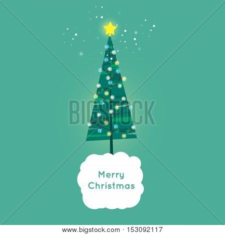 Merry Christmas and Happy New Year. Xmas Poster, banner, printed matter, greeting card. Christmas tree decorated with flashlights. Flat design vector illustration.