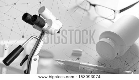 Medical equipment collage, closeup. Gynecology concept. Black and white photo.