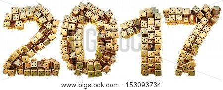new 2017 year from the golden dice. isolated on white. 3D illustration.