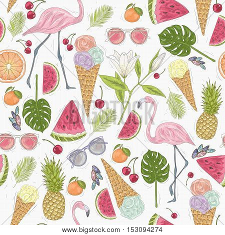 Seamless summer pattern with flamingo, ice cream, and flowers