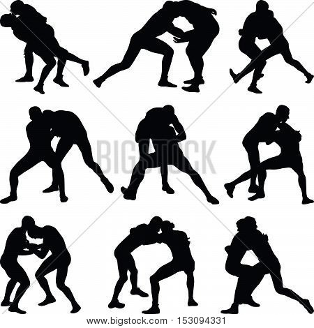 Nine pairs of people wrestle silhouette vector