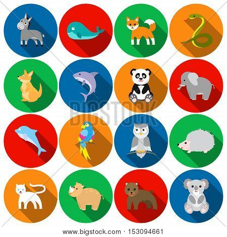 Animals set icons in flat style. Big collection animals vector symbol stock