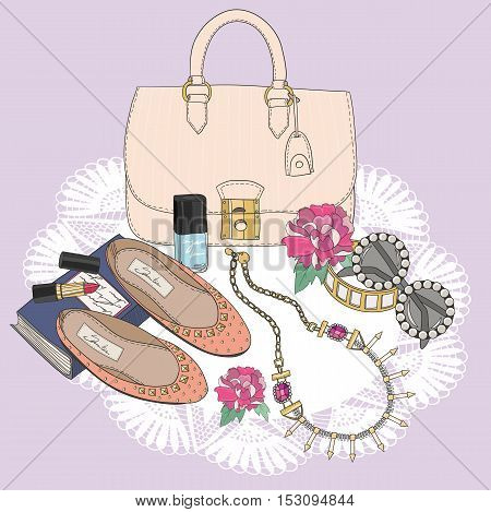 Fashion essentials. Background with bag sunglasses shoes jewelery makeup and flowers.