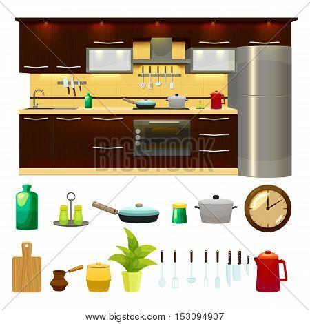 Colorful cartoon style kitchen interior and isolated symbols of cutlery dishes and various houseware flat vector illustration