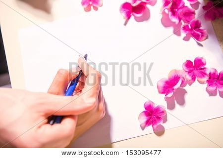 Wedding ceremony. Wedding couple leaving their signatures