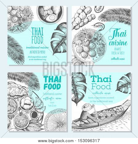 Asian food banner set. Asian food square banner collection. Thai food menu restaurant. Thai food sketch menu. Linear graphic