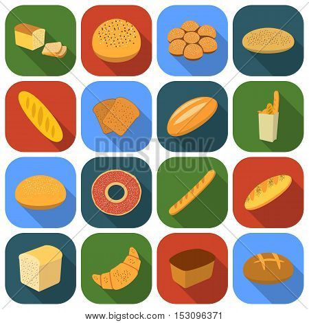 Bread set icons in flat style. Big collection bread vector symbol stock