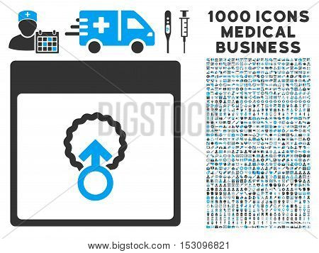 Blue And Gray Cell Penetration Calendar Page glyph icon with 1000 medical business pictograms. Set style is flat bicolor symbols, blue and gray colors, white background.