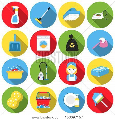 Cleaning set icons in flat style. Big collection cleaning vector symbol stock