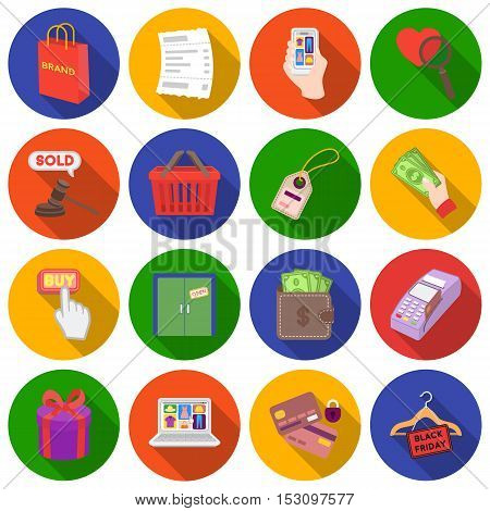 E-commerce set icons in flat style. Big collection e-commerce vector symbol stock