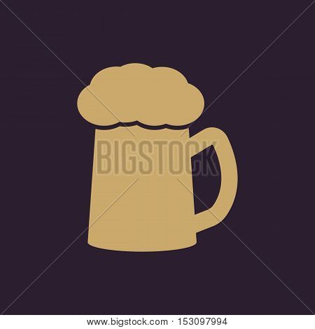 The glass of beer icon. Pub and kvass, alcohol, drink symbol. Flat Vector illustration