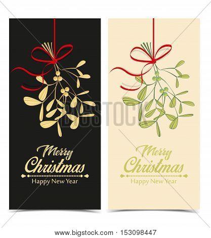Christmas mistletoe hanging, vector illustration Christmas background