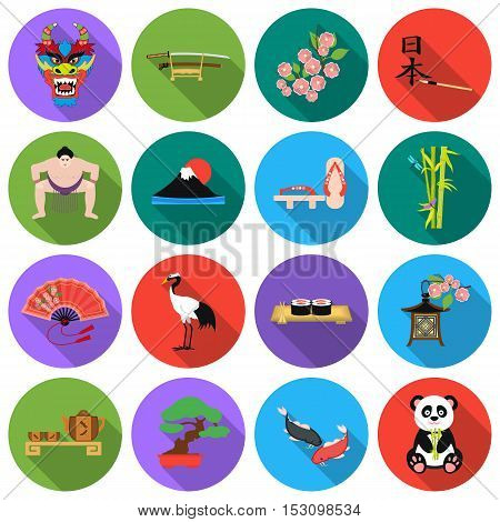 Japan set icons in flat style. Big collection Japan vector symbol stock