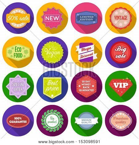 Label set icons in flat style. Big collection label vector symbol stock