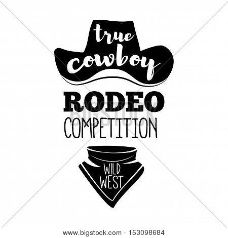 Cowboy hat and scarf. Wild West Label. Rodeo Competition Badge. Western Illustration. Vector Isolated On White Background