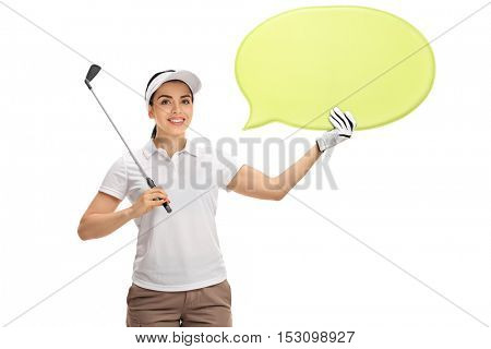 Female golf player holding a golf club and a speech bubble isolated on white background