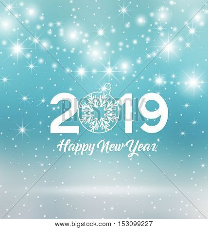 Happy New Year 2019, vector illustration Christmas background