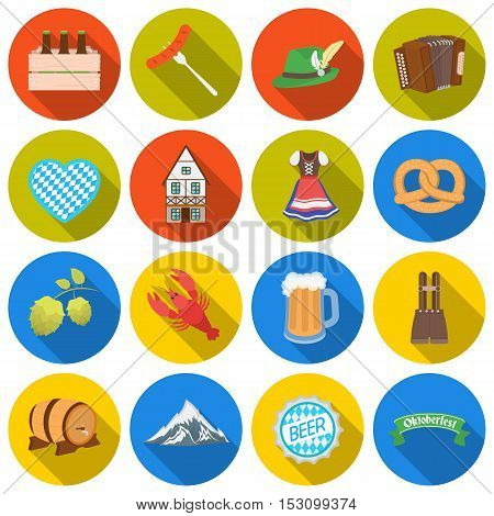 Oktoberfest set icons in flat style. Big collection Oktoberfest vector symbol stock