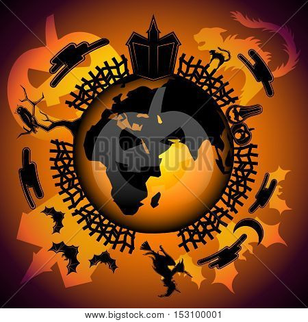 Halloween Around The World.Halloween in Europe, Africa, Asia. Halloween background. Scary house, crazy cat, bloody pumpkins, moon and clouds, ugly witch, owl on the tree and bats.
