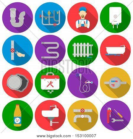 Plumbing set icons in flat style. Big collection plumbing vector symbol stock