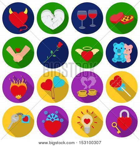 Romantic set icons in flat style. Big collection romantic vector symbol stock