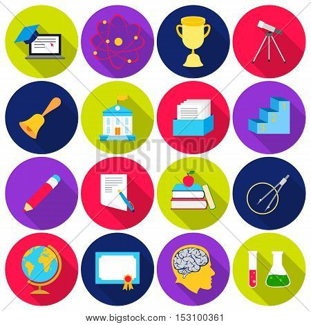 School set icons in flat style. Big collection school vector symbol stock