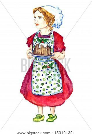 Beautiful Baby Girl in white chef's hat, polka-dot apron and red dress standing and holding plate with Christmas pudding, for greeting card, hand painted watercolor illustration