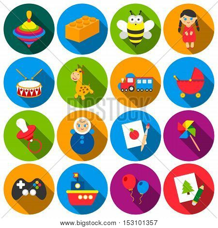 Toys set icons in flat style. Big collection toys vector symbol stock