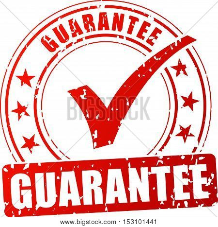 Illustration of guarantee red stamp on white background