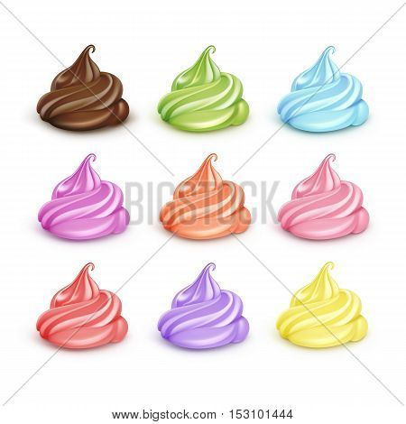 Vector Set of Realistic Colored Blue Pink Yellow Orange Brown Green Lilac Whipped Cream for Dessert Cupcakes Soft Served Ice Cream Close up Isolated on Background.