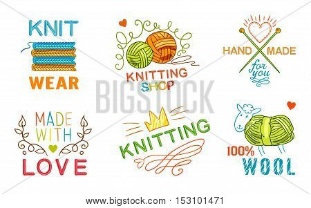 Colored isolated hand made knit logo set with knit wear knitting shop made with love wool descriptions vector illustration